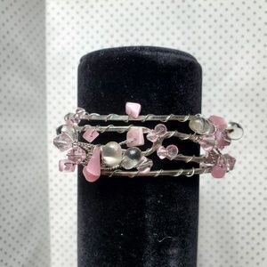 Handmade Silver and Pink Glass Cuff Bracelet